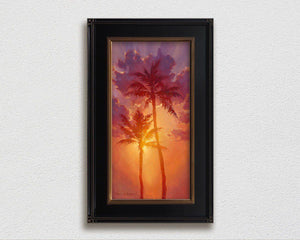 Framed Tropical art canvas of Hawaiian sunset painting  palm tree wall art by Hawaii artist Karen Whitworth