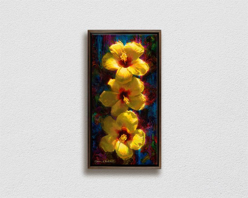Framed Hawaiian tropical flowers painting of yellow hibiscus on canvas by Hawaii artist Karen Whitworth