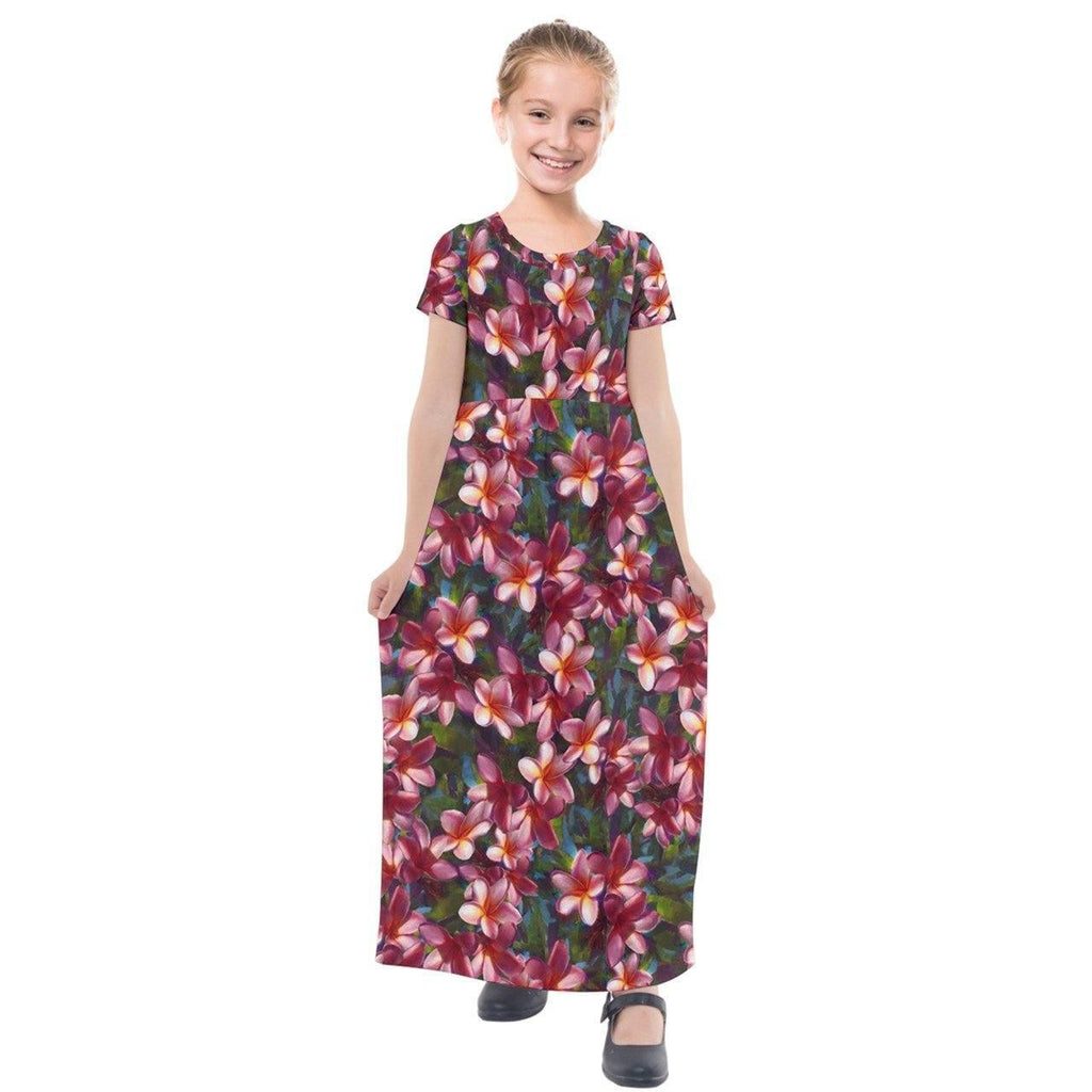 Hawaiian Dress For Girls Plumeria Flower Short Sleeve Maxi