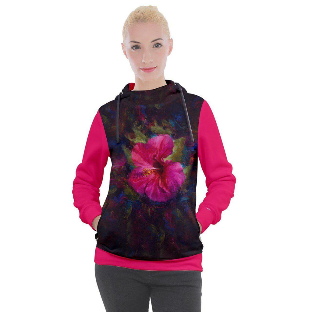 Women's Tropical Floral Hoodie with Hot Pink Hibiscus