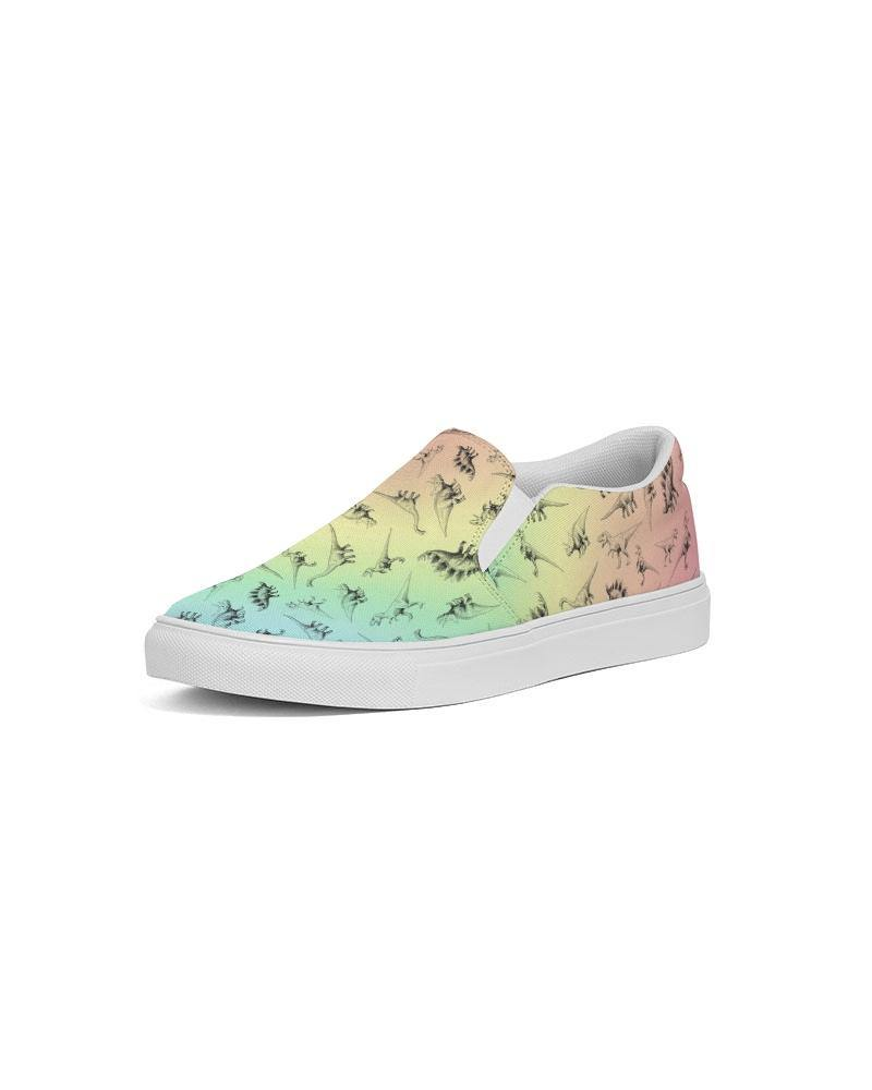 Pastel Rainbow Dino Women's Slip-On Canvas Shoe