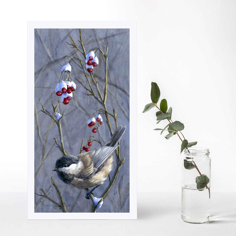 Chickadee bird wall art print set with winter snow and berries