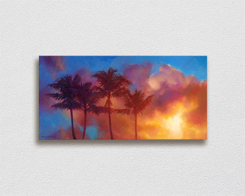 Joy Comes in The Morning - Signed Artist Canvas of Palm Trees and Hawaiian Sunrise Painting