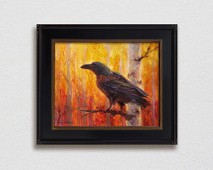 framed Painting of autumn raven and fall forest wall art canvas