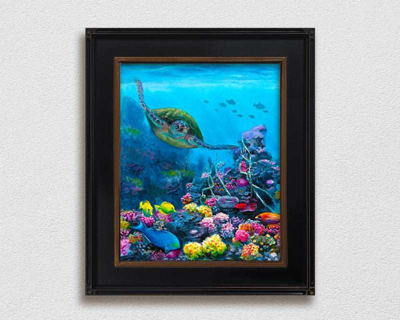 Secret Sanctuary - Signed Artist Canvas of Hawaiian Coral Reef and Green Sea Turtle