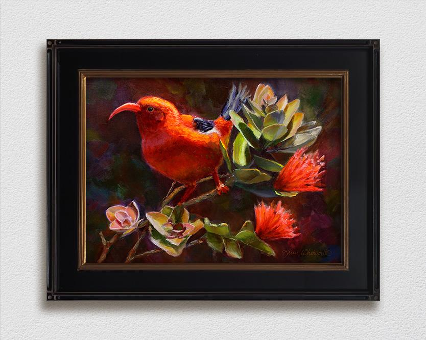 framed Hawaiian flower painting of ohia tree and iiwi bird by Hawaii artist Karen Whitworth