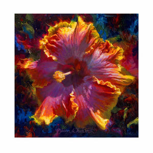 Tropical Hibiscus Flower Wall Art titled Radiance by Hawaii artist Karen Whitworth