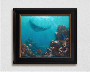 Framed wall art canvas of tropical coral reef and manta ray painting by ocean and Hawaii artist Karen Whitworth