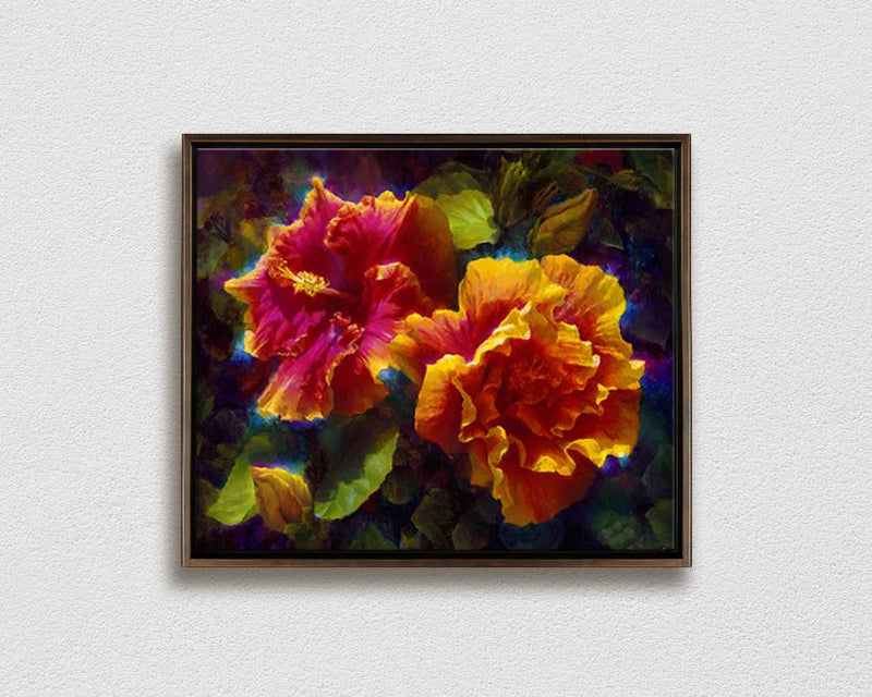 Framed wall art canvas of tropical Hawaiian hibiscus flowers by gallery artist Karen Whitworth