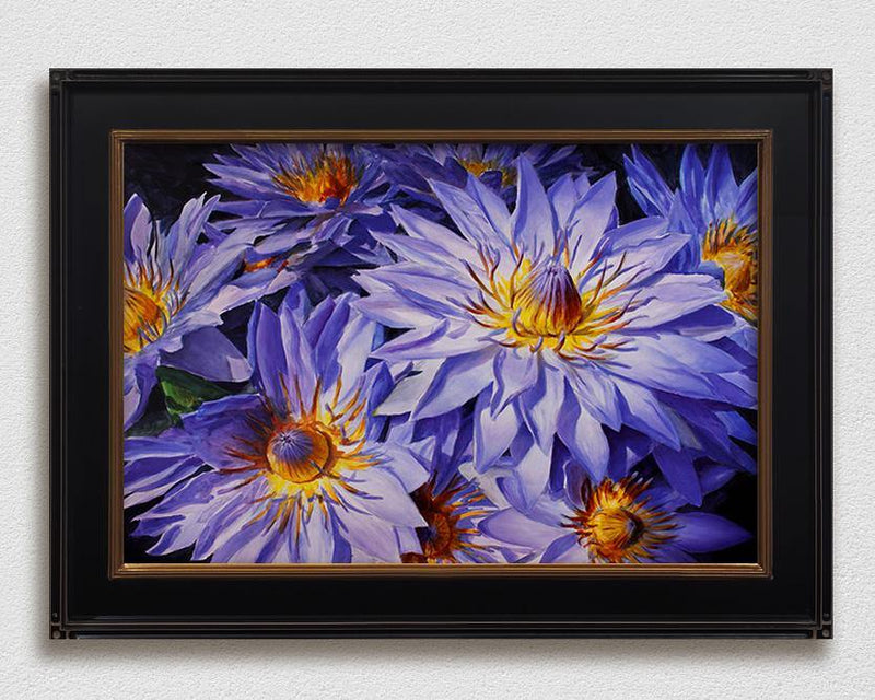 Framed Hawaiian flower painting of blue lotus, tropical art on canvas by Hawaii artist Karen Whitworth