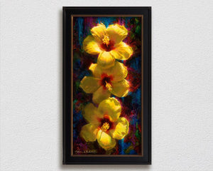 Large Hawaiian tropical flowers painting of yellow hibiscus on canvas by Hawaii artist Karen Whitworth