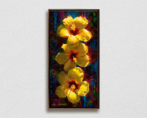Big Hawaiian tropical flowers painting of yellow hibiscus on canvas by Hawaii artist Karen Whitworth
