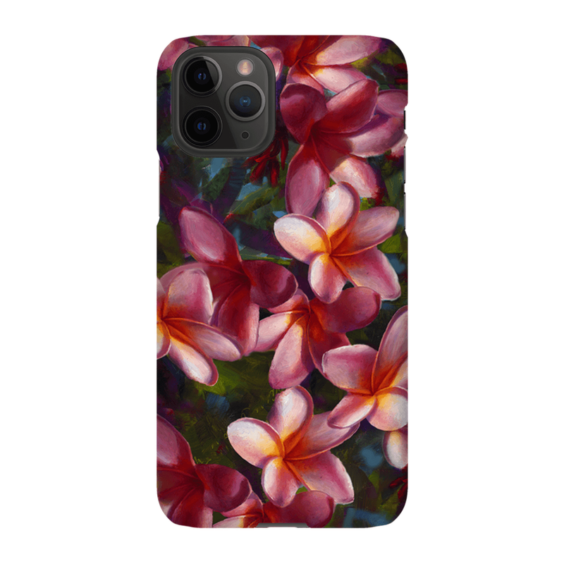 iPhone 11 Pro phone case with tropical pink Hawaiian Plumeria Flowers