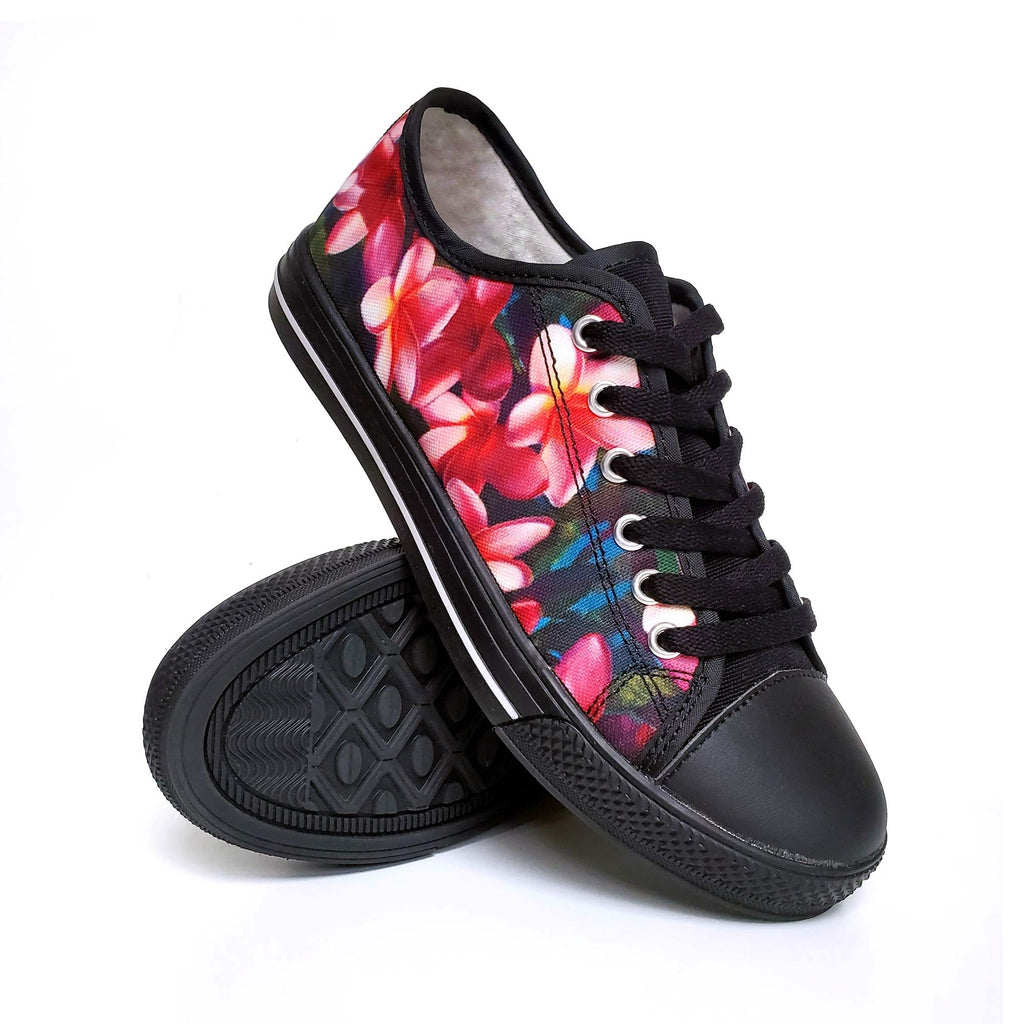 Womens floral sneakers with low top canvas shoes and black leather soles