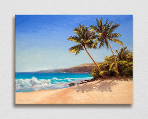 Big Island Getaway - Signed Artist Canvas of Palm Tree Painting and Hawaii Beach Landscape