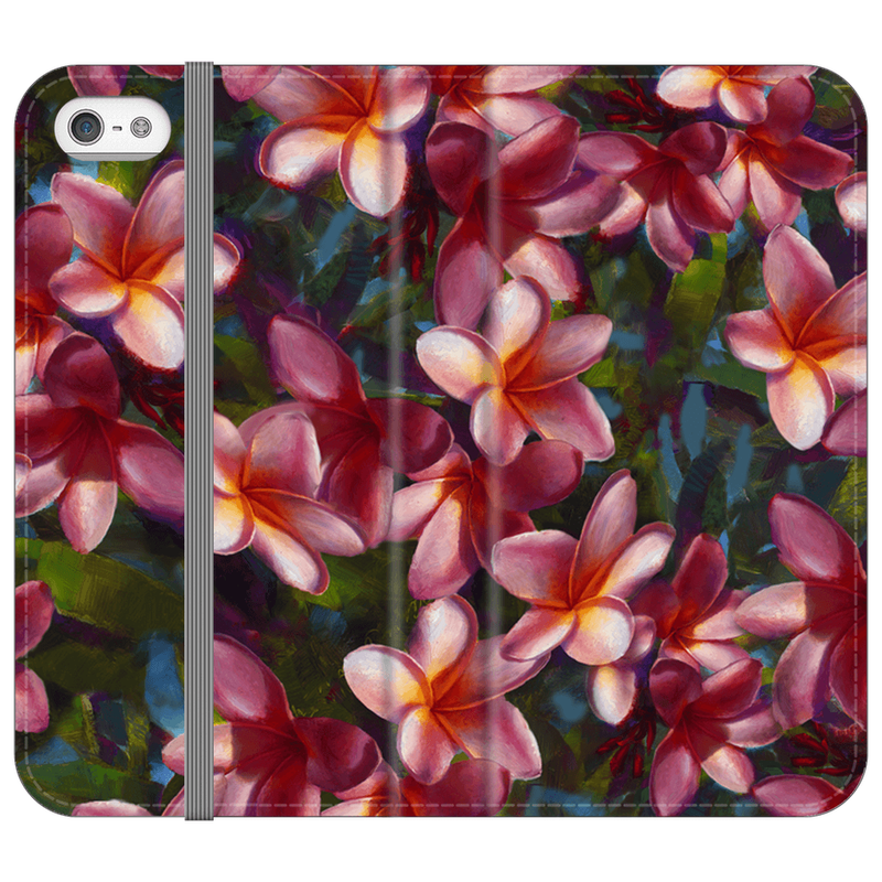 iPhone SE wallet phone case with Hawaiian Plumeria Flowers