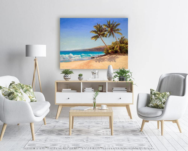 Tropical beach art palm tree painting wall art canvas in bright interior setting with tropical by Hawaii artist Karen Whitworth