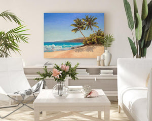 Tropical beach painting wall art canvas in bright interior setting with tropical decor by Hawaii artist Karen Whitworth