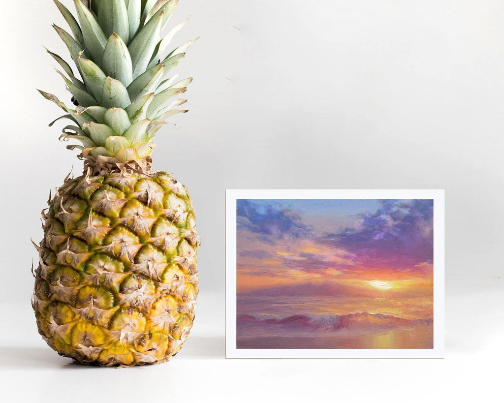 Maui to Molokai - Print of Hawaiian Sunset Painting and Beach Landscape