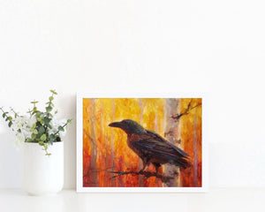 5x7 Autumn Raven Art Print of bird in forest by Alaska Artist Karen Whitworth