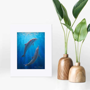 5x7 Matted Underwater dolphin wall art print of whales by ocean artist Karen Whitworth
