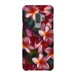 Samsung Galaxy S9 Plus phone case with tropical Hawaiian Plumeria Flowers