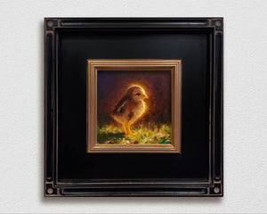 Framed Painting of Baby Chick Kauai Chickens small wall art on white wall by Hawaii artist Karen Whitworth