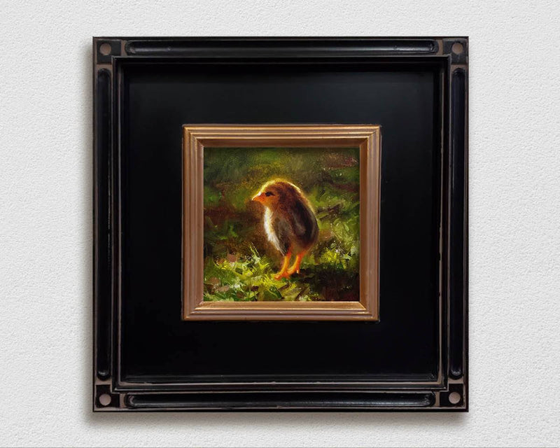 Framed Canvas Painting of a  baby Kauai Chicken on a white wall, by Hawaii Gallery Artist Karen Whitworth