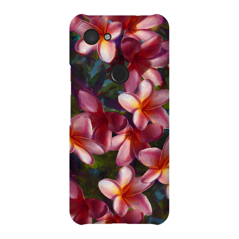 Google Pixel 3A Phone Case with tropical Hawaiian Plumeria flowers