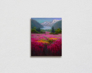 Landscape painting on canvas of Mendenhall Glacier in Juneau Alaska