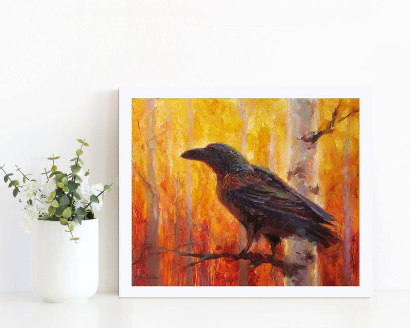 8x10 Autumn Raven Art Print of bird in forest by Alaska Artist Karen Whitworth