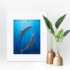 11x14 Matted Underwater dolphin wall art print of whales by ocean artist Karen Whitworth