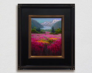 Framed Landscape painting on canvas of Mendenhall Glacier in Juneau Alaska