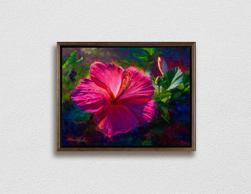 Framed Hawaiian flower painting on canvas of pink hibiscus flowers by Hawaii artist Karen Whitworth