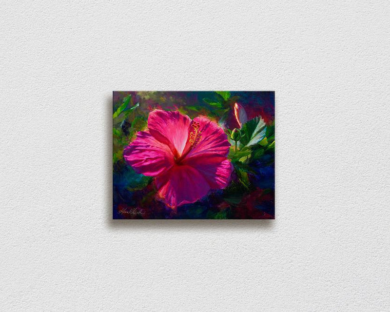 Hawaiian flower painting on canvas of pink hibiscus flowers by Hawaii artist Karen Whitworth