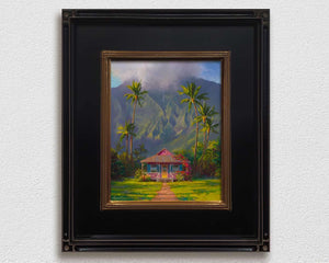framed Hanalei Kauai wall art of a Tropical island landscape painting with Hawaii palm trees and mountain cottage