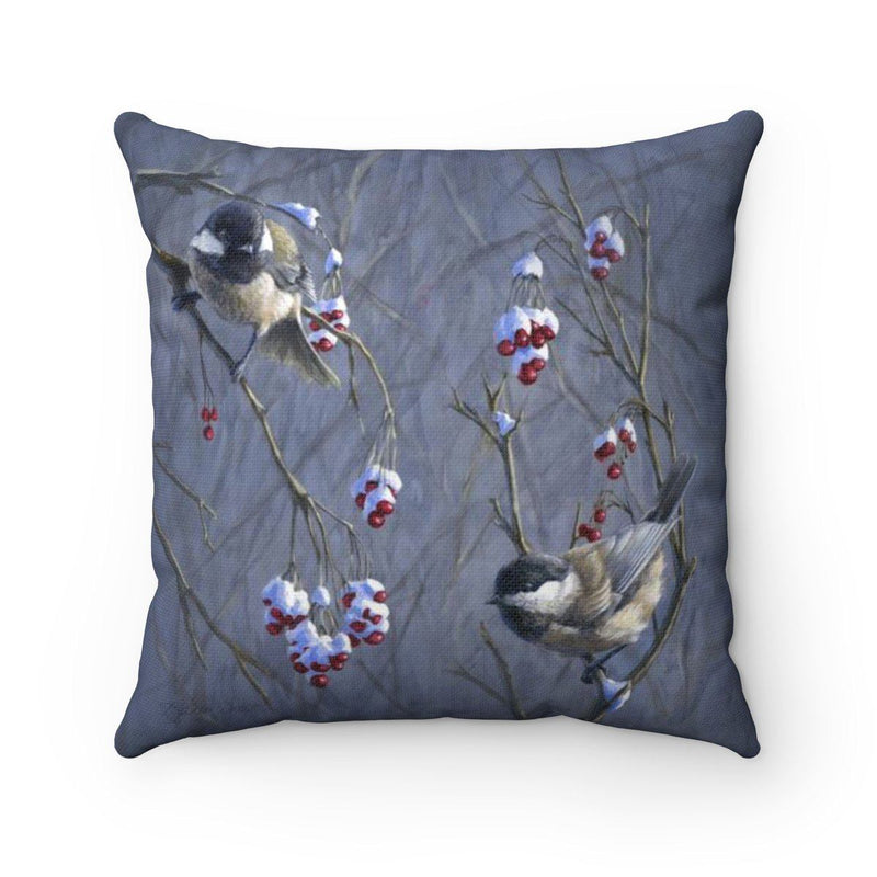 Snow and Chickadees Pillow Winter Birds Decor Throw Pillow