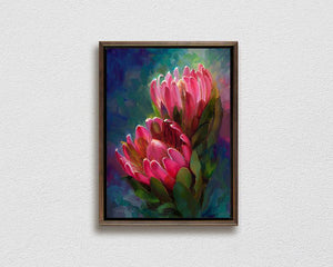 Framed pink protea Hawaiian flower painting by Hawaii artist Karen Whitworth