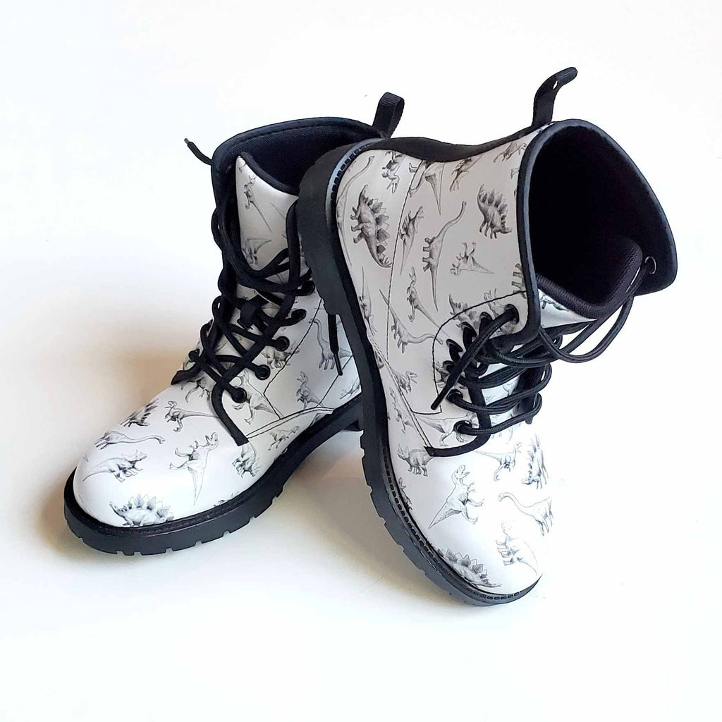 Adult Dinosaur print Combat Boots for women by dino artist Karen Whitworth