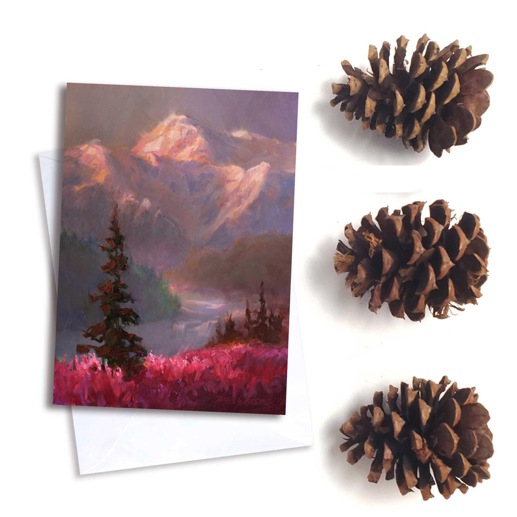 Alaska Denali Mountain greeting card by Alaska artist Karen Whitworth