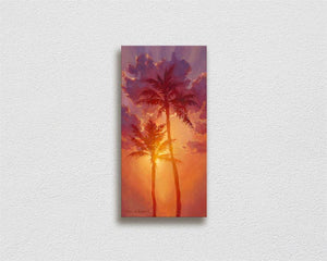 Tropical art canvas of Hawaiian sunset painting  palm tree wall art by Hawaii artist Karen Whitworth