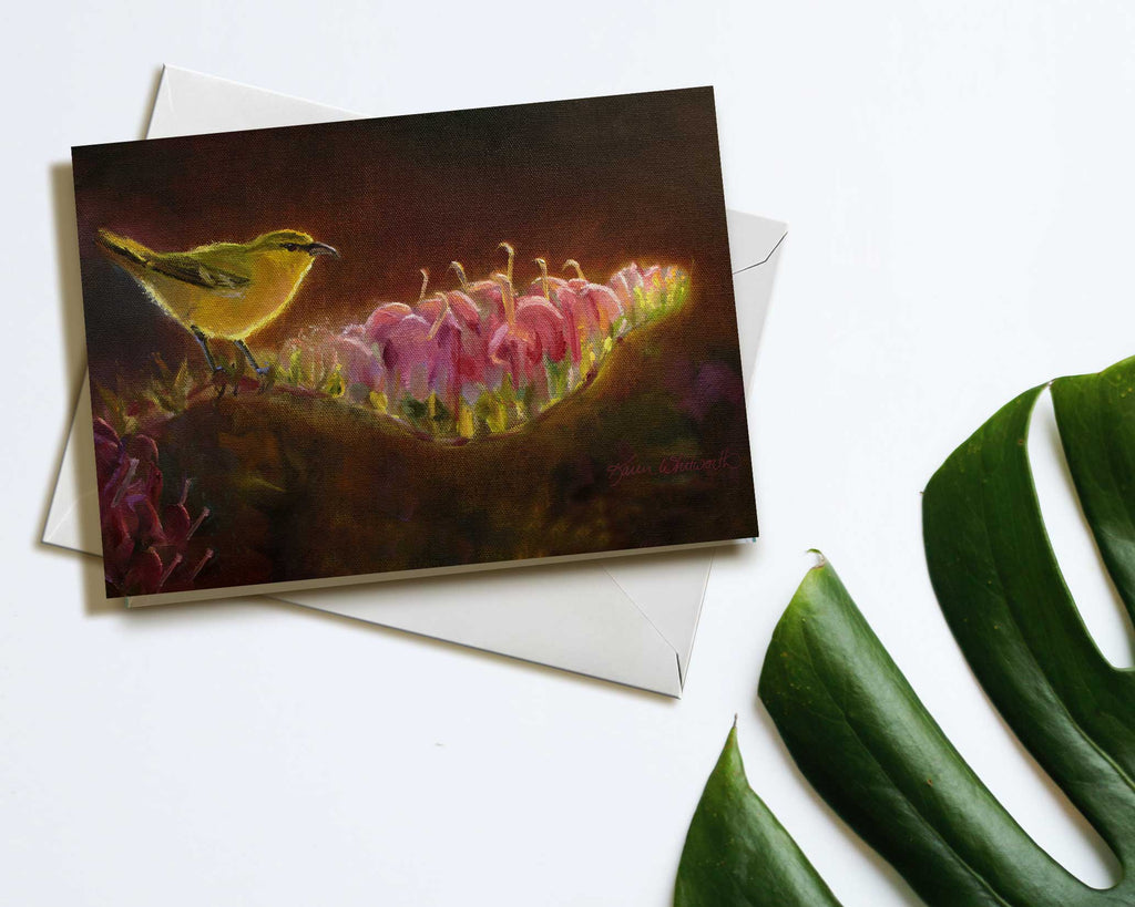 Hawaii note card featuring painting of Amakihi Bird and Koli'i Flower against a white background