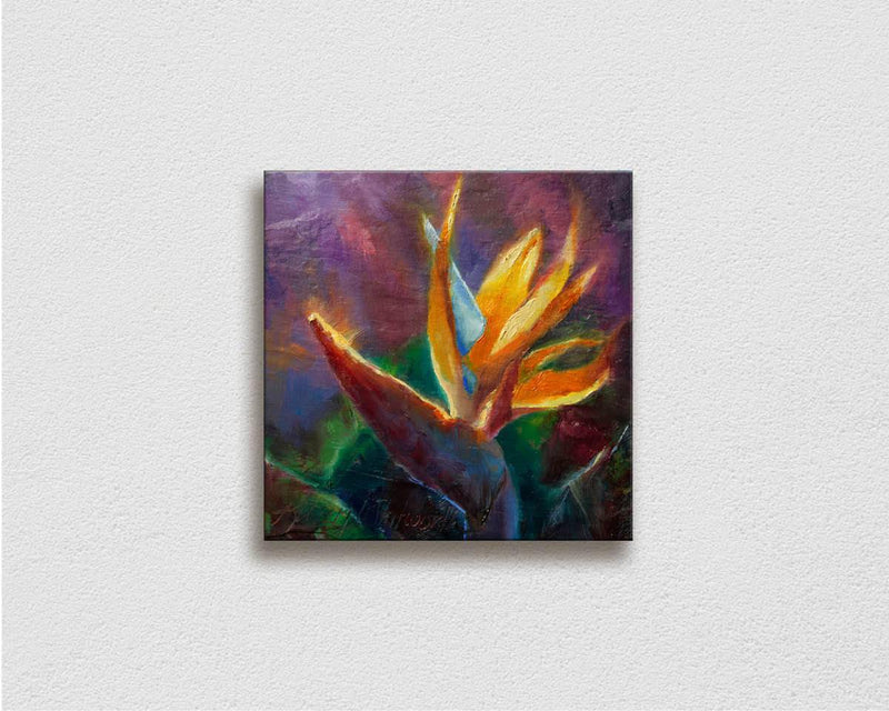 Painting of tropical bird of paradise flower on white wall by Hawaii Gallery Artist Karen Whitworth