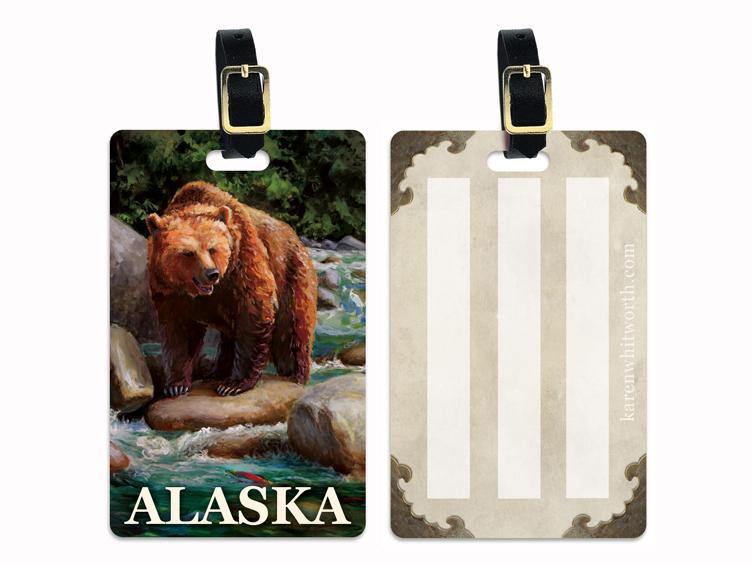 Brown Bear On The Little Su - Alaska Luggage Tags Featuring a Brown Bear On The Susitna River