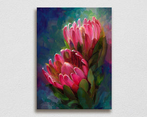 Pink protea Hawaiian flower painting on canvas by Hawaii artist Karen Whitworth