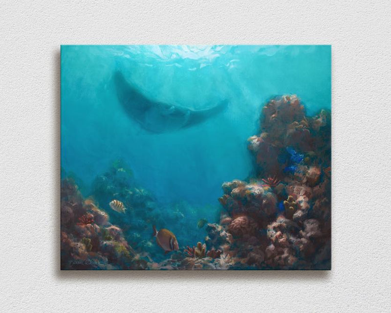 Wall art canvas of tropical coral reef and manta ray painting by ocean and Hawaii artist Karen Whitworth