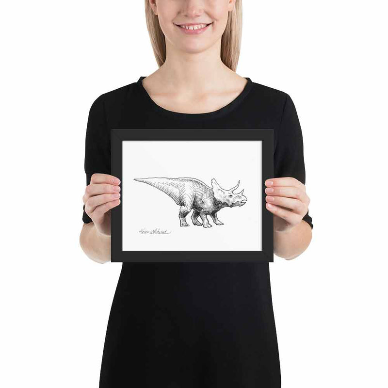 Triceratops wall art print of dinosaur drawing by artist Karen Whitworth