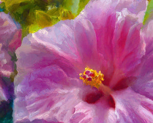 Gentle Radiance - Paper Art Print of Tropical Hibiscus Flowers