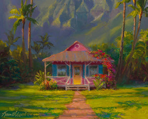 Tropical art Hawaii painting of Hanalei Kauai canvas wall art by Hawaii artist Karen Whitworth