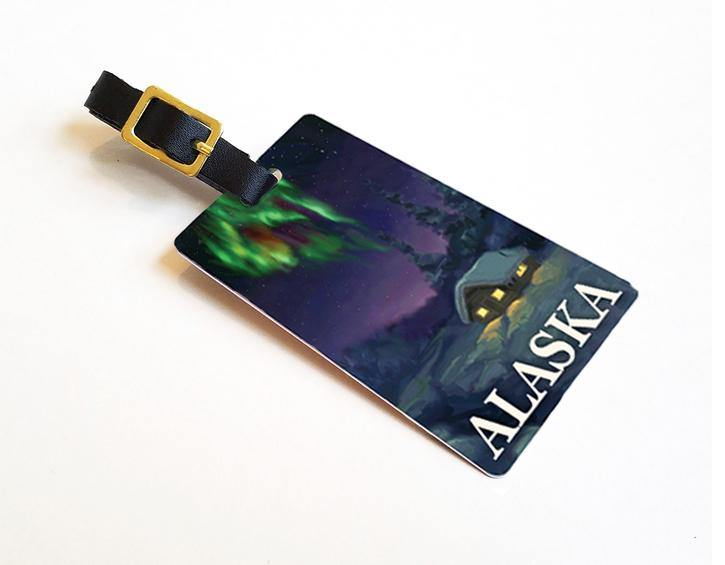 Dance Of The Aurora - Alaska Luggage Tags Featuring The Aurora Borealis Dancing Over An Alaskan Cabin In Winter